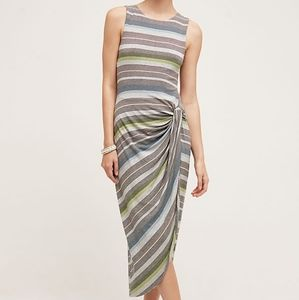 Anthro Bailey 44 Gathered Stripes Midi Dress L
